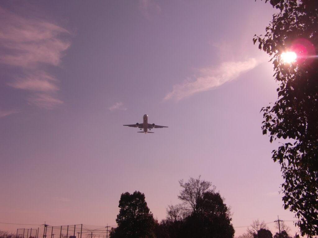朝日の飛行機