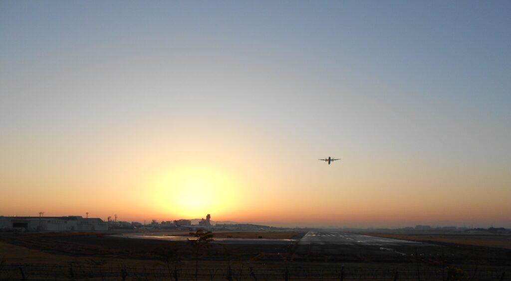 冬至の朝、日の出と大阪国際空港一番機が、ワンちゃんすに出逢えました!!